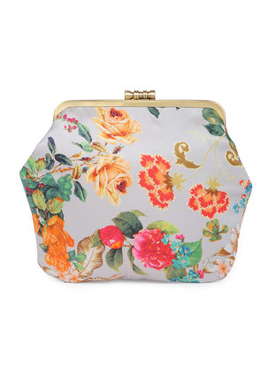 Grey Hand-crafted Floral Printed Satin Clutch