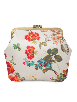 Off-white Hand-crafted Floral Printed Satin Clutch