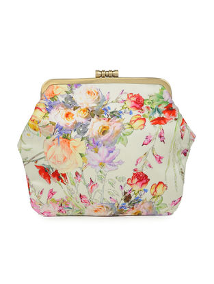 Ivory Hand-crafted Floral Printed Satin Clutch