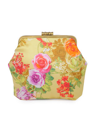 Yellow Hand-crafted Floral Printed Satin Clutch