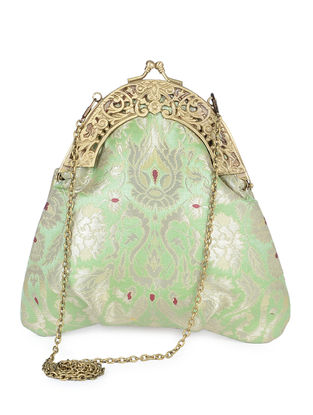 Mint Green Handcrafted Brocade Silk Clutch