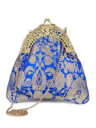 Blue Handcrafted Brocade Silk Clutch