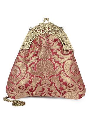 Red Handcrafted Raw Silk Clutch
