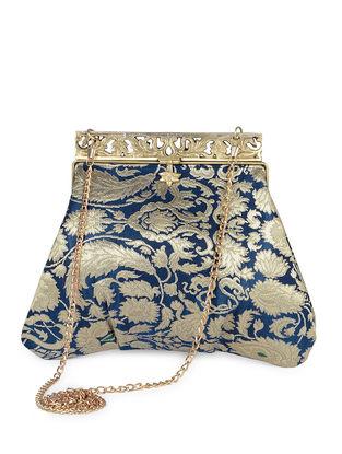 Navy blue Handcrafted Brocade Silk Clutch