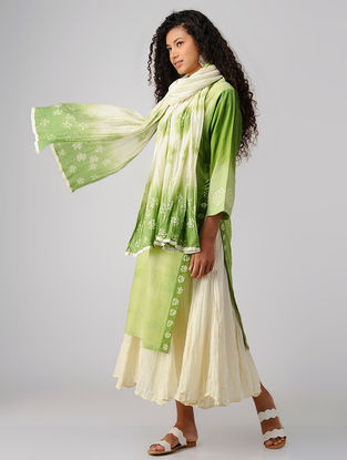 Green Tie and Dye Cotton Dupatta