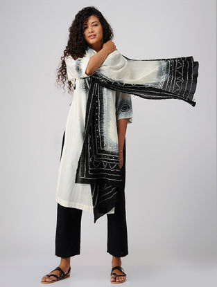 Ivory-Black Tie and Dye Cotton Dupatta