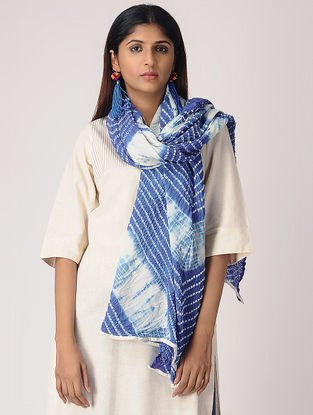 Blue-White Tie-dye Cotton Dupatta