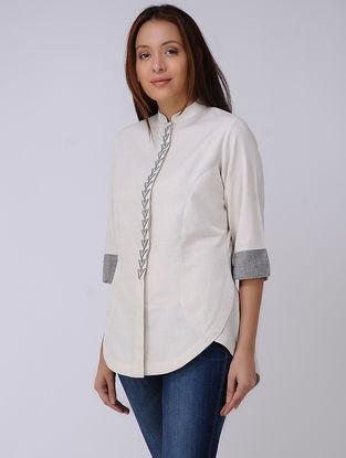 Ivory-Black Handwoven Cotton Top