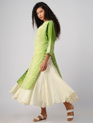 Ivory Crinkled Cotton Skirt