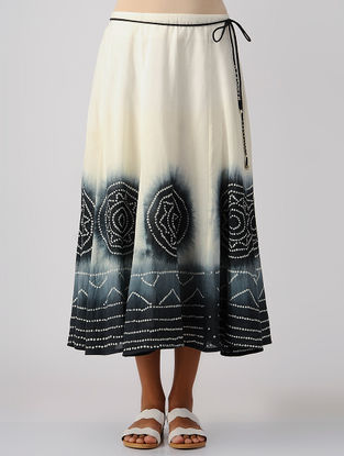 Black-Ivory Tie and Dye Cotton Skirt