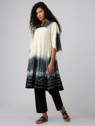 Black-Ivory Tie and Dye Cotton Anarkali Kurta
