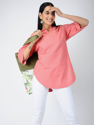 Coral Cotton Kurta with Applique Work