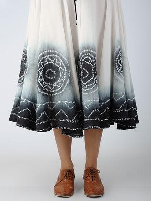 Black-White Tie-Dye Elasticated Waist Cotton Skirt