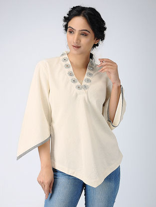 Ivory Cotton Top with Mirror Work