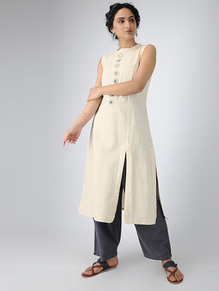 Ivory Cotton Kurta with Mirror Work