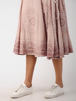 Pink Elasticated Waist Tie-Dye Cotton Skirt