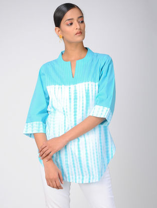 Turquoise Shibori Cotton Top