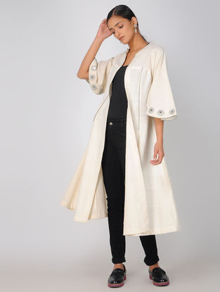 Ivory Embroidered Cotton Jacket with Mirror Work