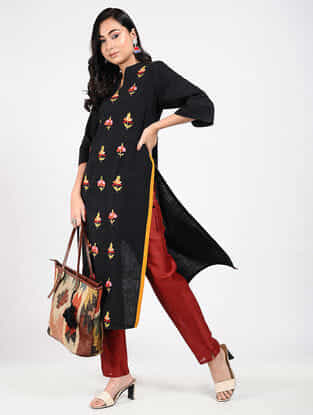 Black Kashmiri Aari-Embroidered Cotton Kurta