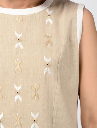 Beige Hand-embroidered Cotton Kurta