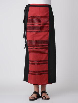 Red-Black Cotton Wrap Around Skirt