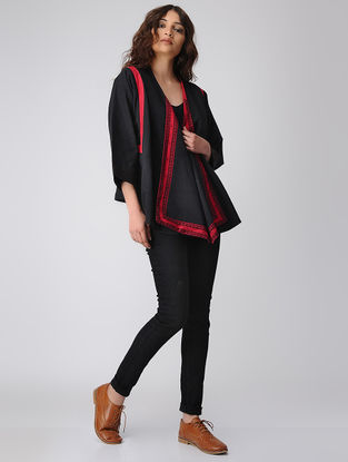 Red-Black Cotton Overlay Jacket