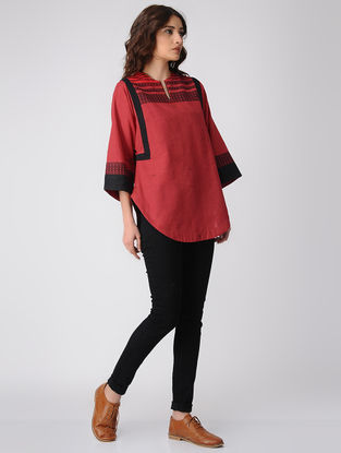 Red-Black Cotton Top