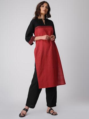 Red-Black Cotton Kurta