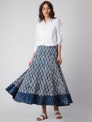 Indigo Elasticated Waist Dabu-printed Cotton Skirt