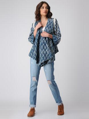 Indigo Dabu-printed Cotton Overlay Jacket