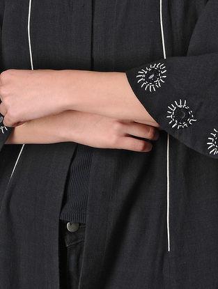Black Cotton Anarkali Jacket with Mirror Work