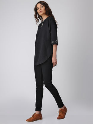 Black Cotton Top with Mirror Work