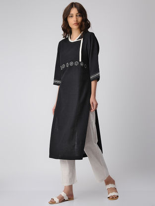Black Cotton Kurta with Mirror Work