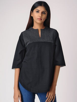 Black Cotton Top with Quilting