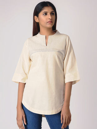 Ivory Cotton Top with Quilting