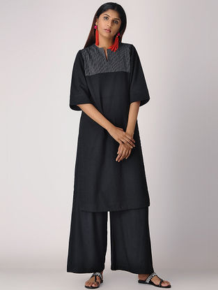 Black Cotton Kurta with Quilting