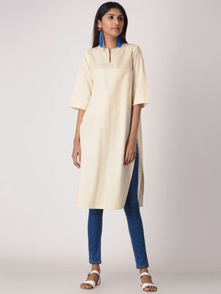 Ivory Cotton Kurta with Quilting