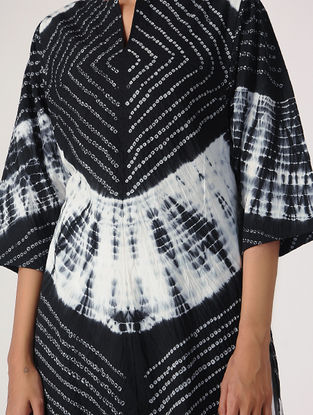 Black-White Tie-dye Cotton Kurta