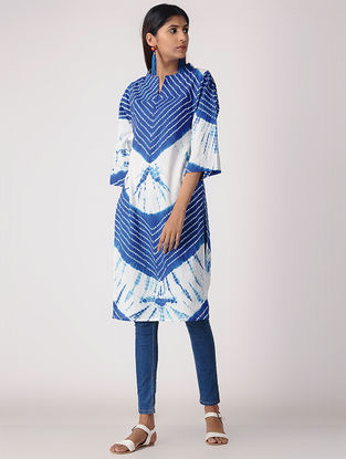 Blue-White Tie-dye Cotton Kurta