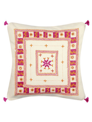 Pink-Orange Mirror Embroidered Cotton Cushion Cover (16in x 16in)