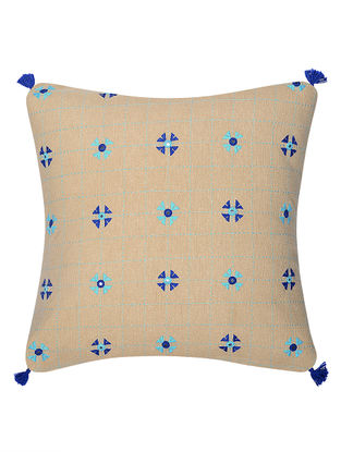 Beige-Blue Mirror Embroidered Cotton Cushion Cover (16in x 16in)
