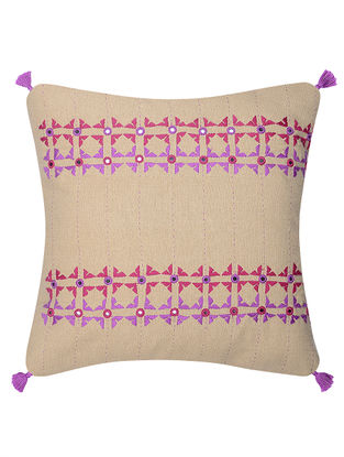Beige-Pink Mirror Embroidered Cotton Cushion Cover (16in x 16in)