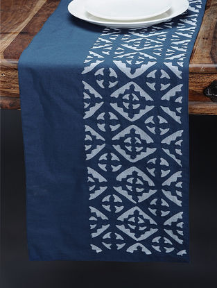 Blue-White Cotton Runner with Applique Work (57in x 13in)