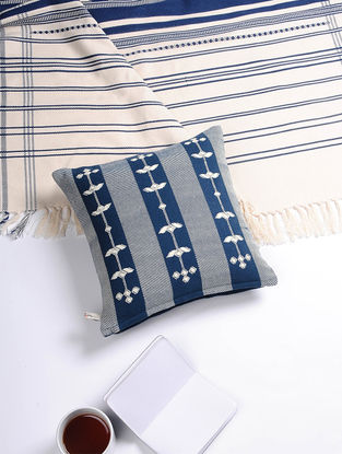 Blue-White Hand Woven Cotton Cushion Cover (12in x 12in)
