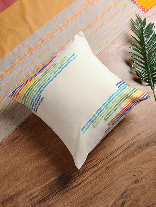 White-Multicolored Hand-Embroidered Cotton Cushion Cover (16in x 16in)