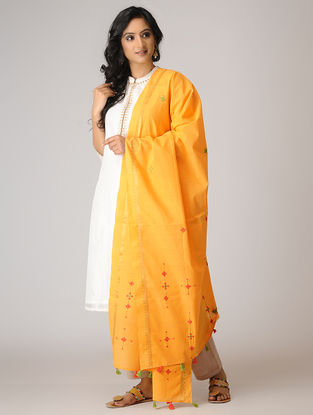 Yellow-Red Suf Embroidered Cotton Dupatta with Tassels