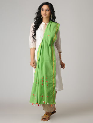 Green-Orange Suf Embroidered Cotton Dupatta with Zari Border and Tassels
