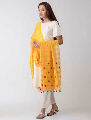 Yellow-Pink Hand-embroidered Missing-checks Cotton Dupatta with Tassels
