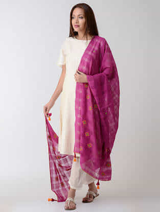 Purple-Yellow Missing Checks Kharek-embroidered Cotton Dupatta with Tassels