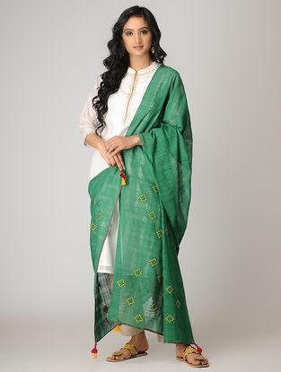 Green-Yellow Kharek-embroidered Cotton Dupatta with Tassels